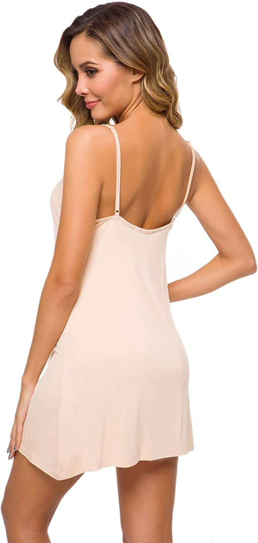 WiWi Womens V Neck Nightgown Mini Full Slip Chemise S-4XL