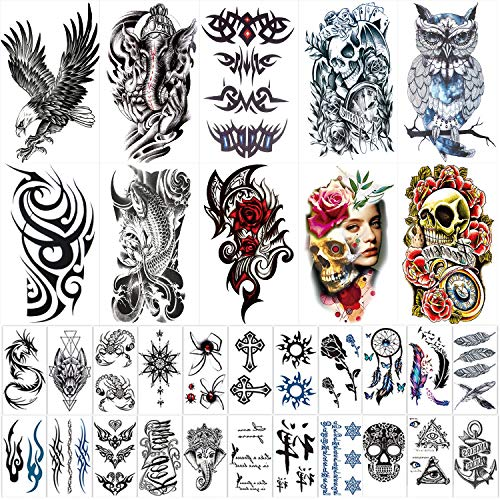 42 Sheets Temporary Tattoos Stickers (Include 10 Sheets Large Stickers), Fake Body Arm Chest Shoulder Tattoos for Men and Women