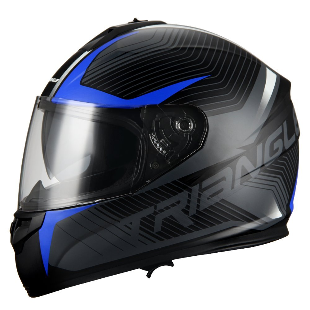 Triangle Full Face Dual Visor Matte Black Street Bike Motorcycle Helmet (Large, Matte Blue) by TRIANGLE