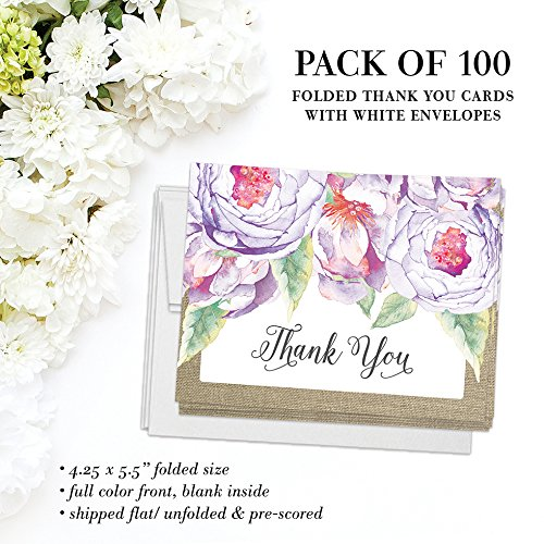 All Occasion Invitations & Folded Thank You Cards Matching Set with Envelopes ( 100 of Each ) Beautiful for Bridal Shower Engagement Birthday Party Fill-in Invites & Thank You Notes Best Value Pair by Digibuddha (Image #5)