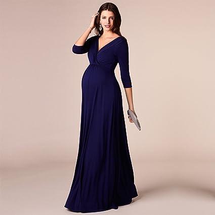 Decdeal - Elegante Vestido Largo con Cinturón para Premamá Embarazada, Color Azul Oscuro, Mangas Medianas, 100% Algodón: Amazon.es: Ropa y accesorios