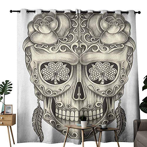 duommhome Day of The Dead Customized Curtains Spanish Sugar Skull with Roses Dragonfly Eyes Feather and Earrings Artwork Darkening and Thermal Insulating W120 x L96 Grey - Hook Earrings Celtic