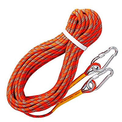 Rock Climbing Rope with 2 Hooks, Tresbro Static Rappelling Rope Equipment Machine for Mountain Climb, Fire Rescue Escape, Outdoor Survival, Camping 10M(33ft) 20M(66ft) 30M (98ft) 50M (164ft)