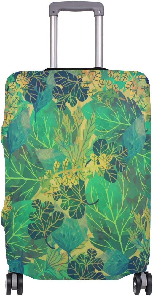FOLPPLY Tropical Green Leaf Pattern Luggage Cover Baggage Suitcase Travel Protector Fit for 18-32 Inch
