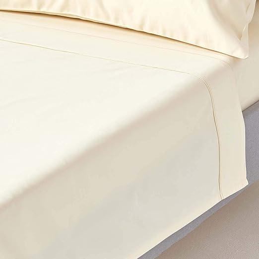 Homescapes Luxus Satén y Algodón Sábana (240 x 275 cm Crema Vainilla 100% Algodón Egipcio Hilos 1000 Cama Toalla Casa: Amazon.es: Hogar