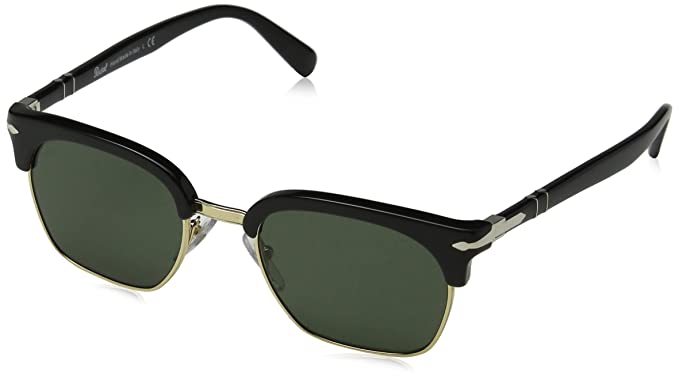 Persol 95/31 Gafas de sol, Rectangulares, 49, Black: Amazon ...