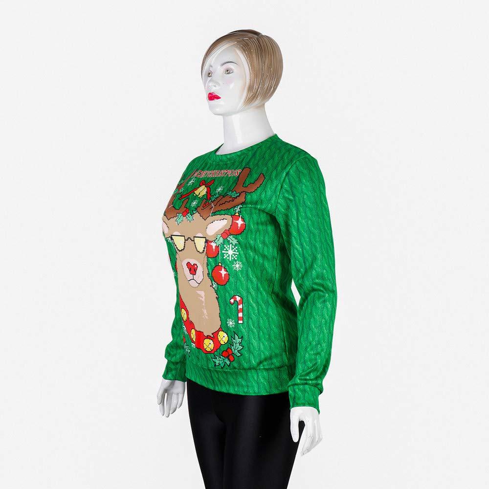 Kulywon long sleeve t shirt Womens Christmas Snowflake Elk Print Long Sleeves Tops Sweatshirts Blouse