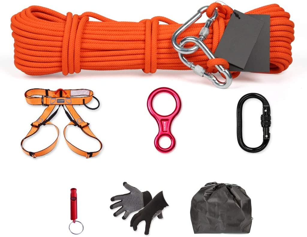 YXR-Caballo mecedora Cuerda De Escape De Incendios, Juego De Cuerdas De Seguridad De Alta Tensión De Rescate 25KN, Salvavidas De Incendios, Protección De Ingeniería De Emergencia, Trabajo Aéreo