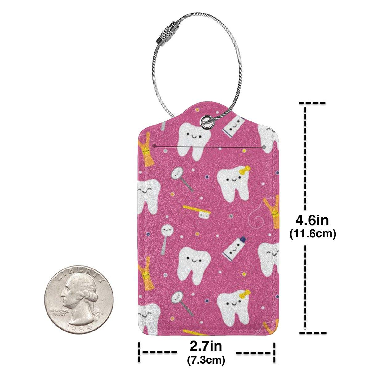 GoldK Dental Dentist Leather Luggage Tags Baggage Bag Instrument Tag Travel Labels Accessories with Privacy Cover