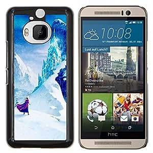 Cuento de hadas de Montaña Niños Niños- Metal de aluminio y de plástico duro Caja del teléfono - Negro - HTC One M9+ / M9 Plus (Not M9)