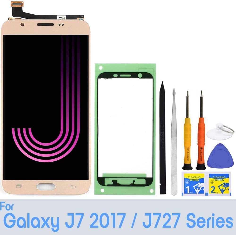 """LCD Screen Replacement for Samsung Galaxy J7 J727 5.5"""" Touch Digitizer Display Assembly 2017 Prime Halo SM-J727 J727P J727U J727T J727T1 J727R4 J727V Sky Pro S727VL S737TL SM-J727A (Gold)"""
