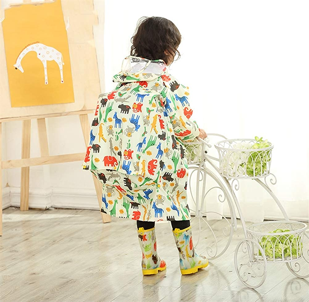 Liveinu Kids Raincoat Waterproof Lightweight Hooded Rainsuit Poncho Long Sleeve Rainwear Jacket with Schoolbag Position