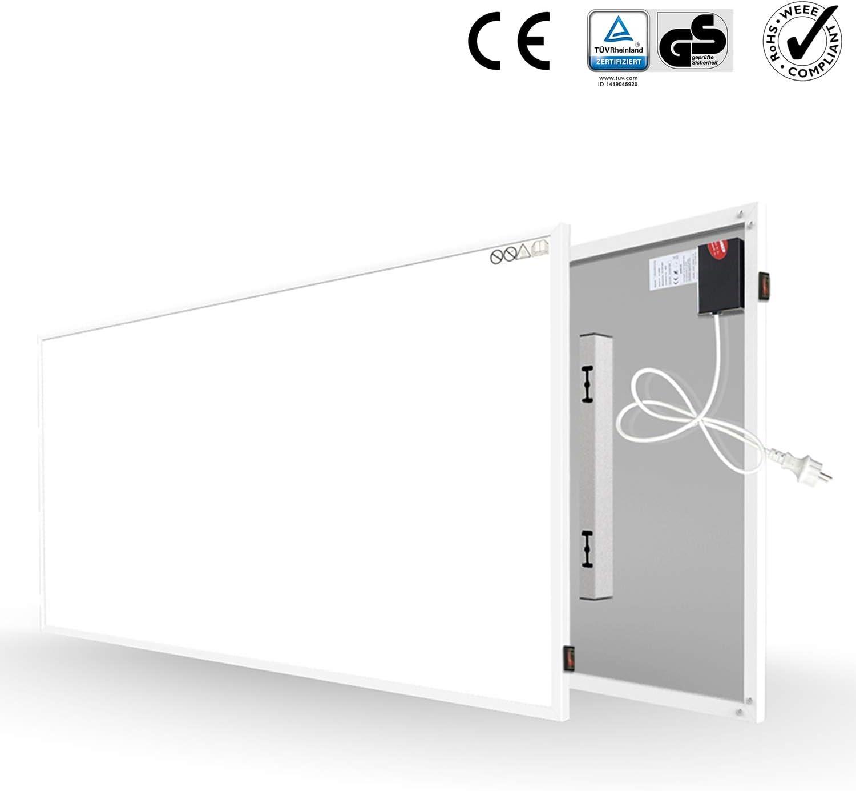 Calefacción por infrarrojos 700W Calentador de pared eléctrico Placa de Montaje en pared Protección contra sobrecalentamiento de ahorro de energía Calentador de cristal de carbono con RoHS CE GS