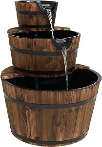 Sunnydaze Wood Barrel Water Fountain - 3-Tier Waterfall Fountain & Backyard Water Feature for Garden, Patio, & Yard - 30 Inch Tall