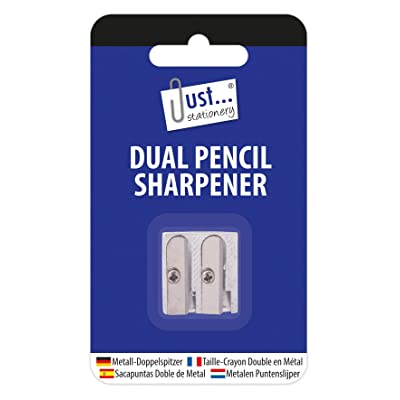 Just Stationery Dual Hole Metal Pencil Sharpener : Office Products