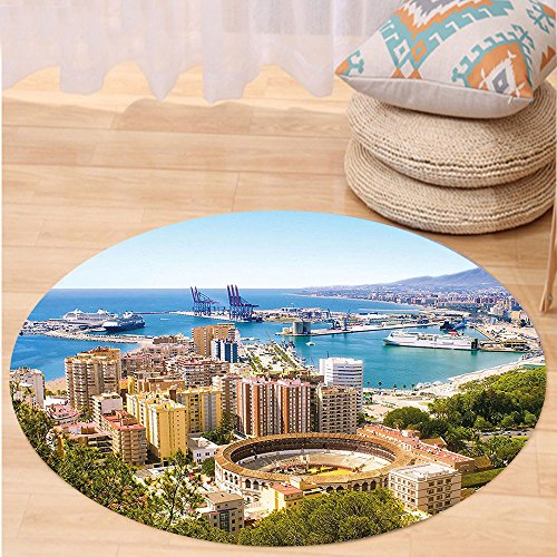 Kisscase Custom carpetLandscape Aerial View of Malaga with Bullring and Harbor Spain Traditional European City for Bedroom Living Room Dorm Multicolor by kisscase