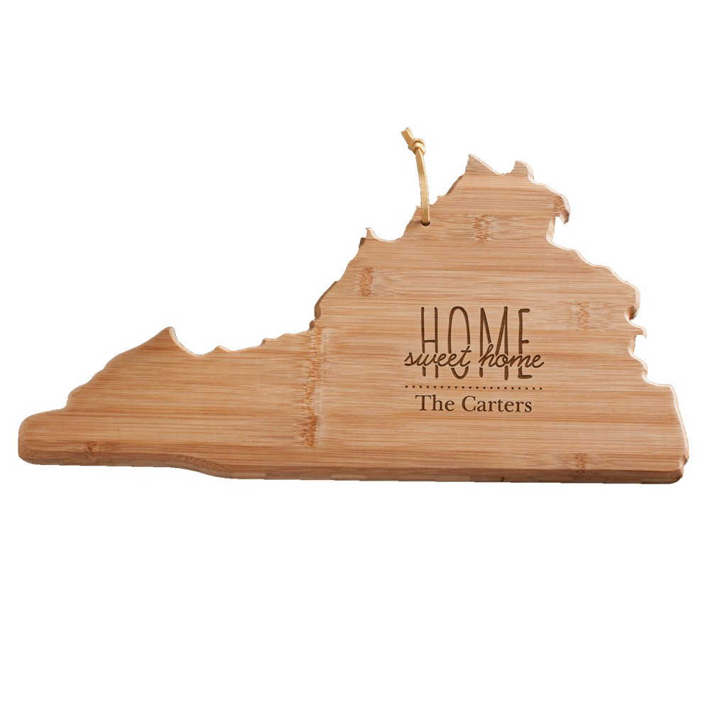 Personalized Home Sweet Home Virginia State Cutting Board, Bamboo, 14.25'' x 11'' x 5/8''