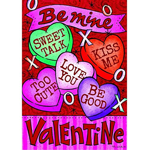 """""""Conversation Heart"""" – Valentine – STANDARD Size, 28 Inch X 40 Inch, Decorative Double Sided Flag – Exclusively Made in the USA – Copyrights and Licensed by Custom Decor Inc. For Sale"""