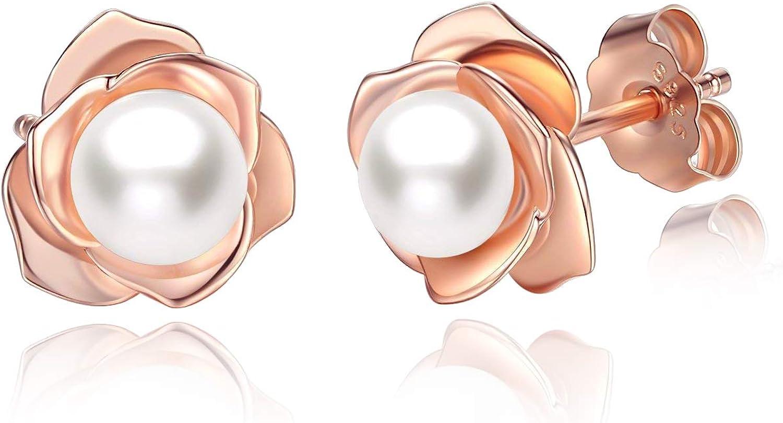 JORA Rose Gold Plated Sterling Silver Rose Flower /& Pearl Stud Earrings for Women