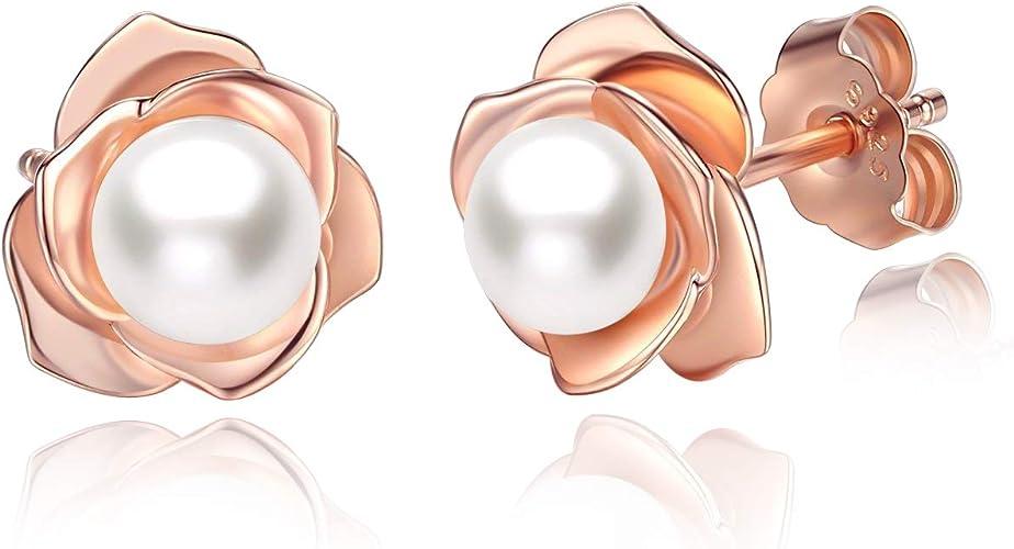 dise/ño de flor de plata de ley 925 Pendientes de perlas de agua dulce para mujer hipoalerg/énicos regalo para el d/ía de San Valent/ín d/ía de la madre