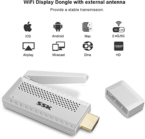 Miracast Dongle, Meco Mini Wireless HDMI Adaptador WiFi Dongle Receptor de TV Stick Full HD 1080p WiFi Display Receptor Miracast DLNA Airplay airmir roring para HDTV Smart Phones portátil Tablet PC: Amazon.es: