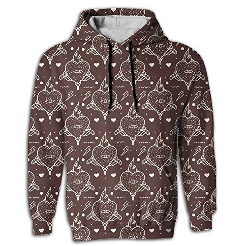 NANAZS Love Heart Digital Print Lightweight Long Sleeve Men Pullover Hoodie Pocket Sportswear For Youth Jogger