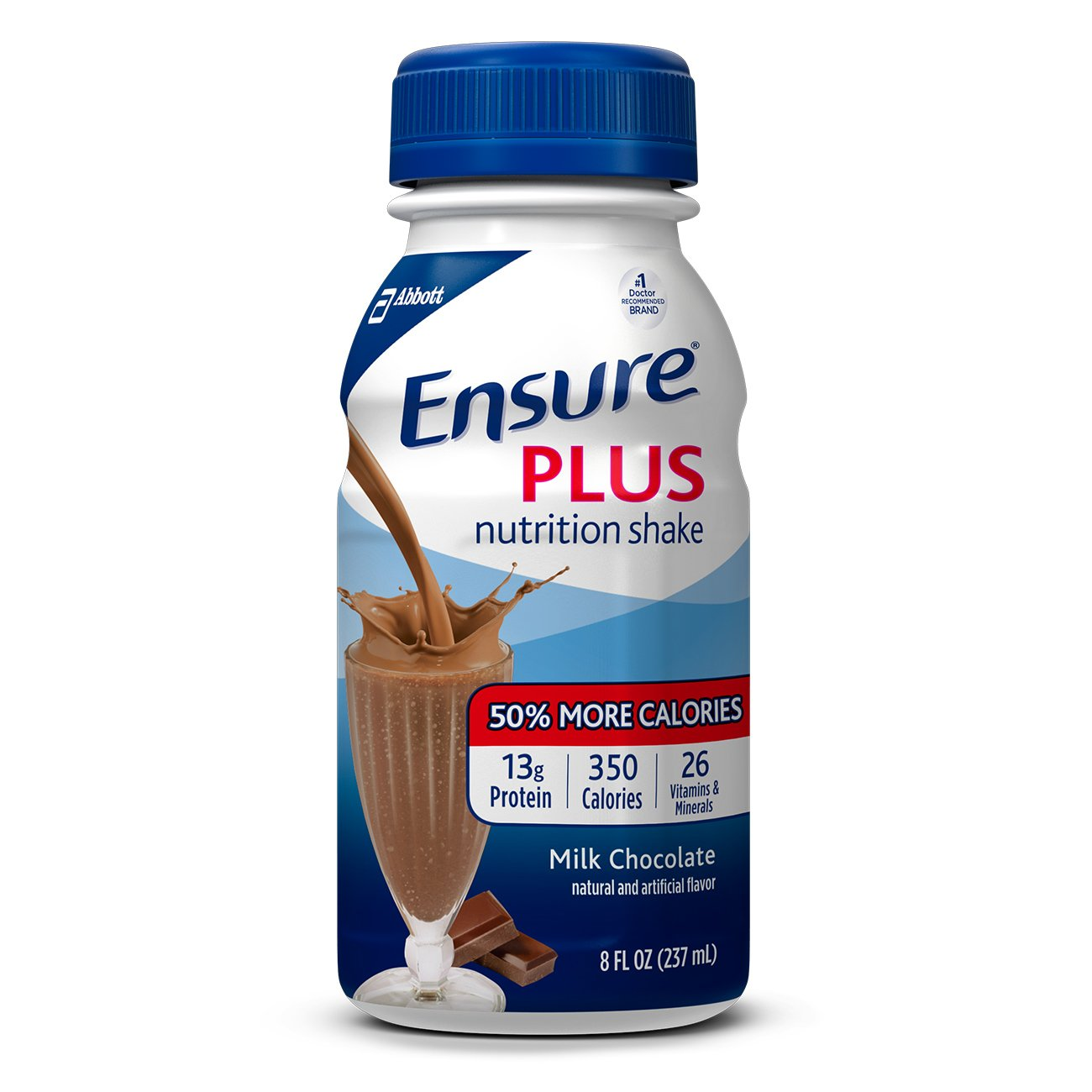 Ensure Plus Nutrition Shake with 13 grams of high-quality protein, Meal Replacement Shakes, Milk Chocolate, 8 fl oz (Pack Of 16)