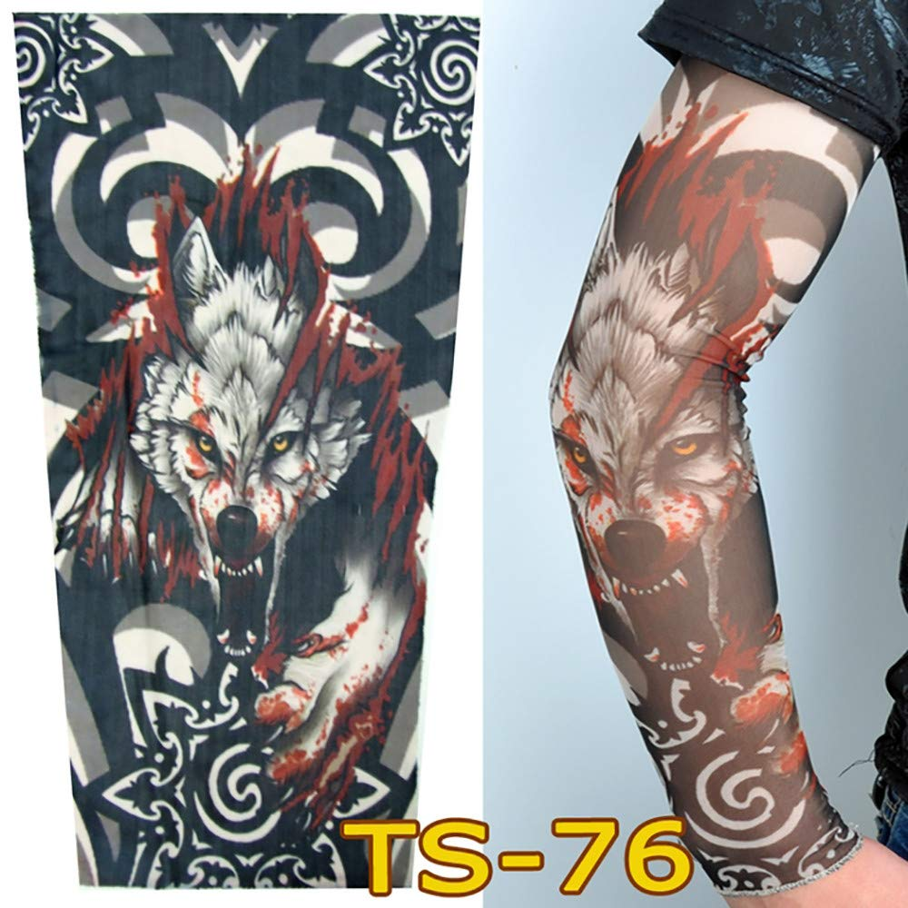1Pc Unisex Nylon Elastic Temporary Tattoo Sleeve Body Arm Stockings UV Protection Tattoo Arm Sleeves for Men Tattoo Sleeves Cover up Stretchable Cosplay Costume Accessories for Men & Women (C)