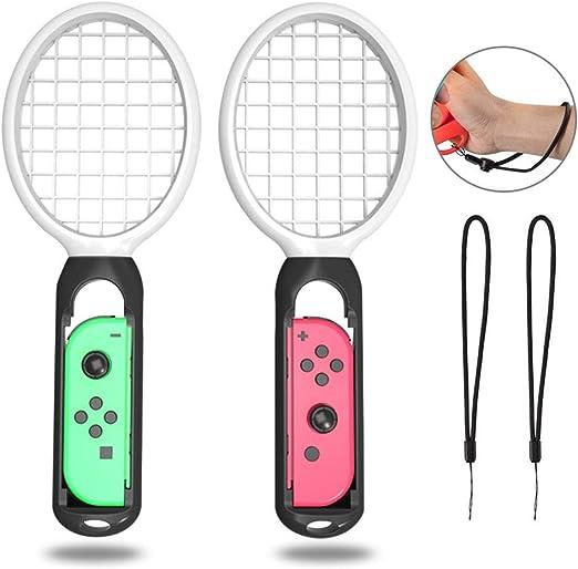 AOLVO Rackets Mario Tennis Aces Game, Tennis Racket/Raqueta Nintendo Switch Joy-con Controller, Accesorios Nintendo Switch, Twin Pack Grips Switch Joy-con (Negro Blanco): Amazon.es: Hogar