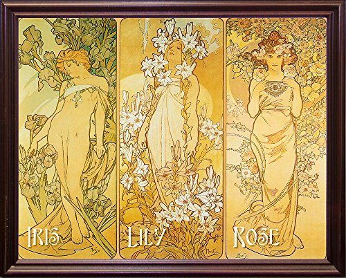 Mucha Iris Lily Rose Framed Print 15.68