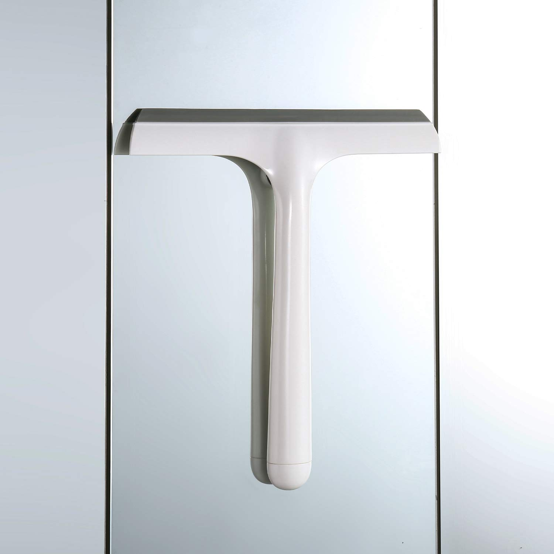 Lavavetro per Specchio in Plastica con Lama in Silicone Wangel Lavavetri per Cabina Doccia con Ventosa Lavavetri per Bagno con Manico Lungo