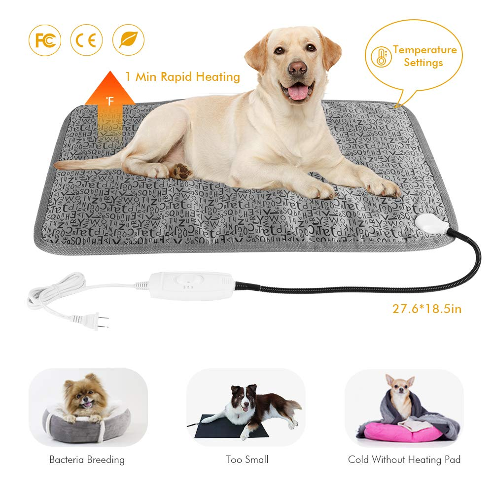 Pet Heating Pad, Dog Warming Mat, Waterproof-Overheat Protection Heating Blanket, Thermostatically Controlled Stray Cat Heater Bed with Chew Resistant Cord, FCC Safety, 27.6X18.5'', Big for Large Dog