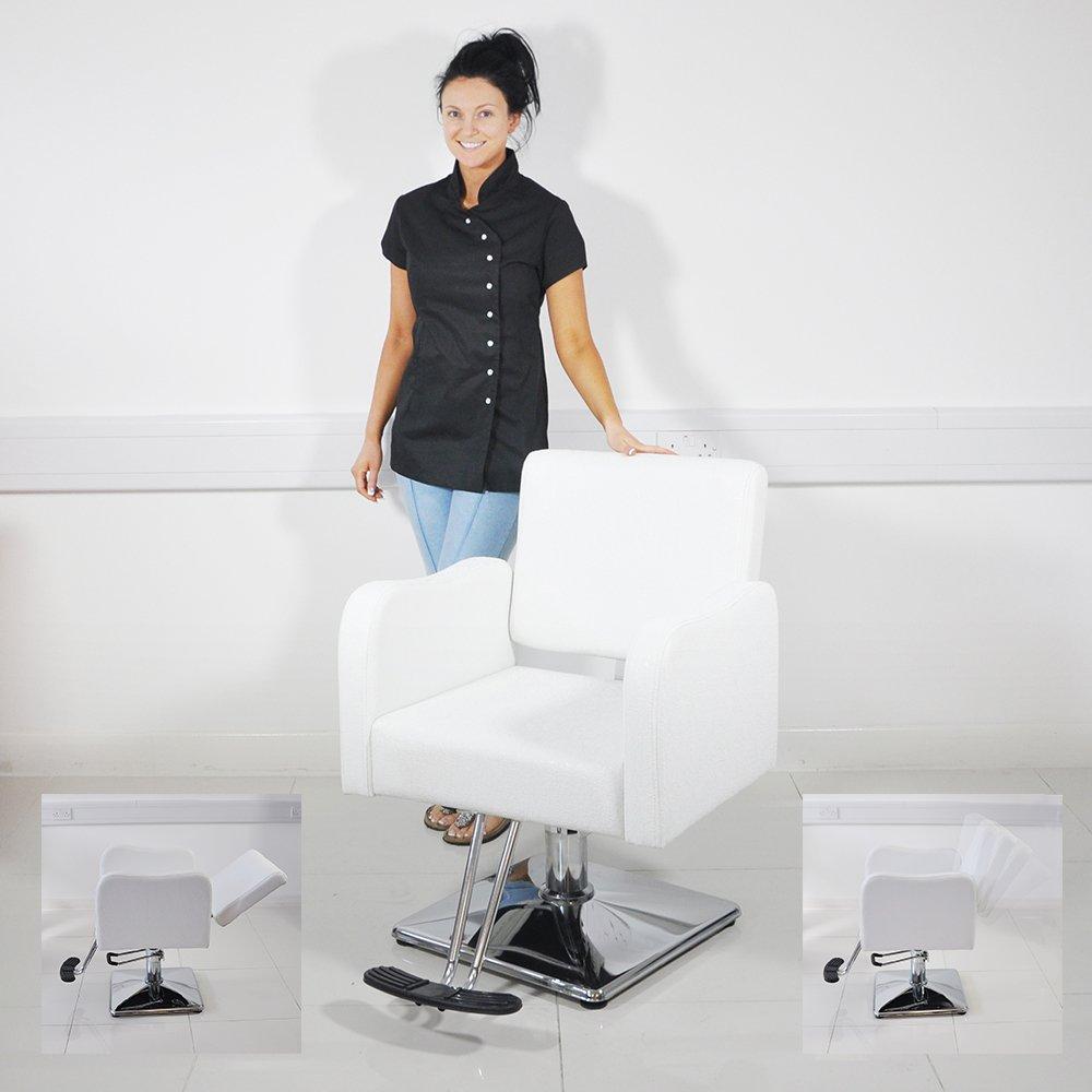 Swivel Hair Styling Chair - Warm White Beauty4Less