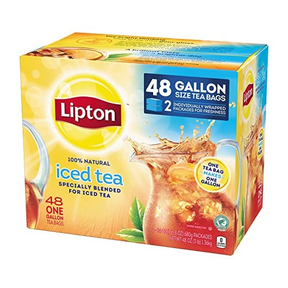 Lipton Gallon-Sized Black Iced Tea Bags, Unsweetened, 48 ct 4 Refreshing Lipton iced black tea from these convenient gallon-size bags Made with real tea leaves specially blended for iced tea Naturally Tasty & Refreshing Lipton Iced Black Tea is the perfect addition to any meal