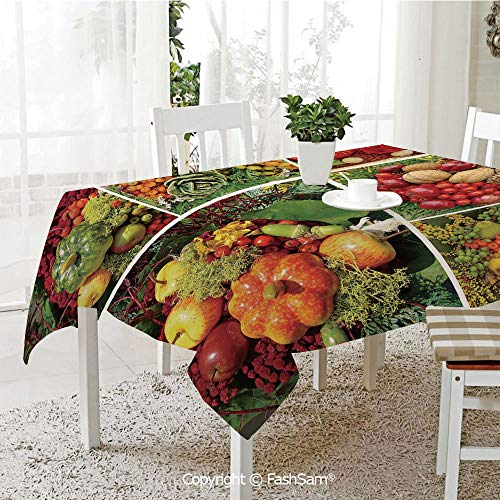 AmaUncle 3D Print Table Cloths Cover Photograph of Products from Various Gardens and Fields Seasonal Foods Walnuts Decorative Table Protectors for Family Dinners (W55 -