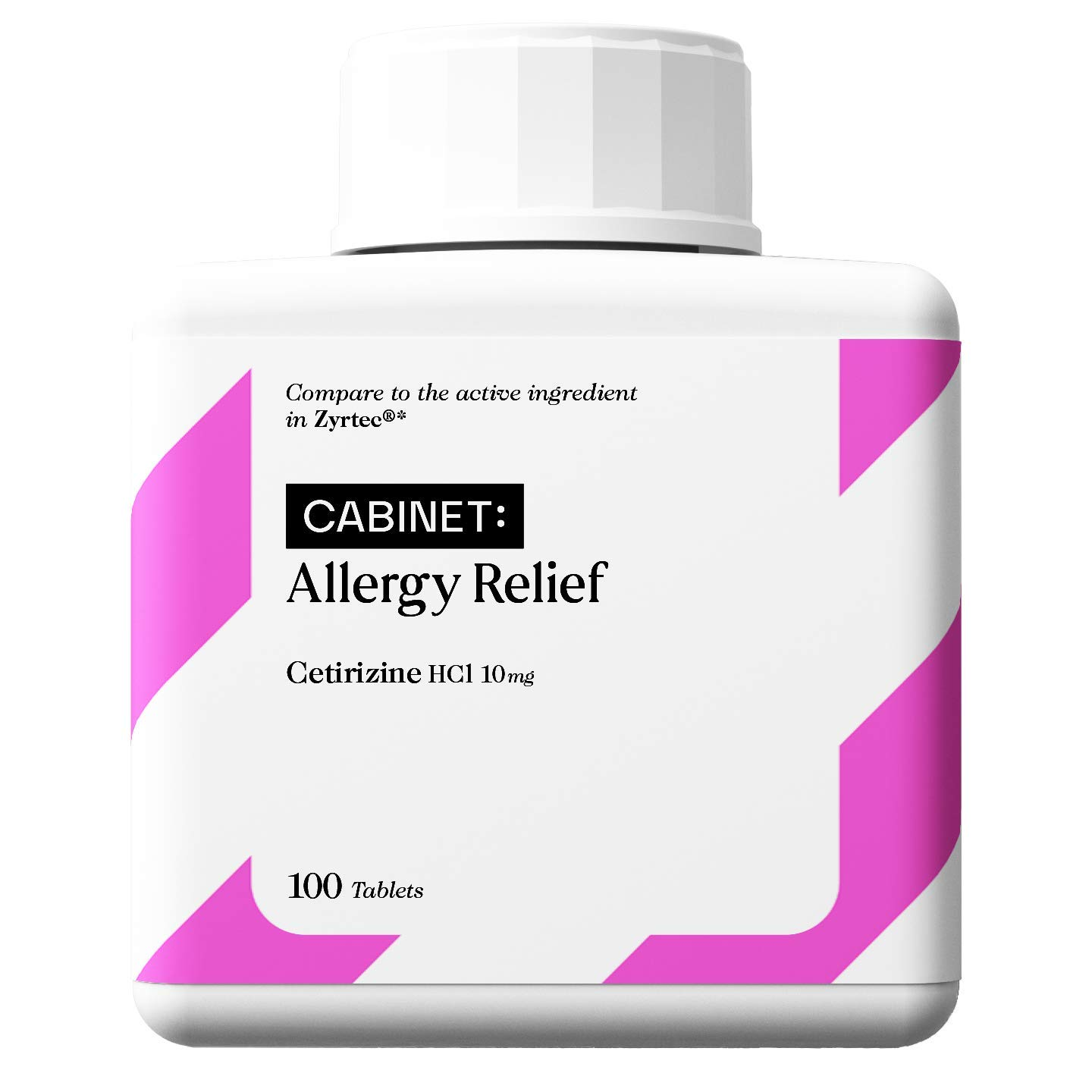 Cabinet 24-Hour Allergy Medicine (100-Count) Non-Drowsy Antihistamine for Pollen, Hay Fever, Dry, Itchy Eyes, Allergies | Cetirizine HCl Caplets | Kids and Adults