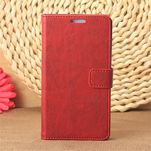 Borch Fashion Luxury Pu Leather Flip Case for Samsung Galaxy Note 3 N9000 Phone Cover Cases with Wallet & Stand Function (Red)