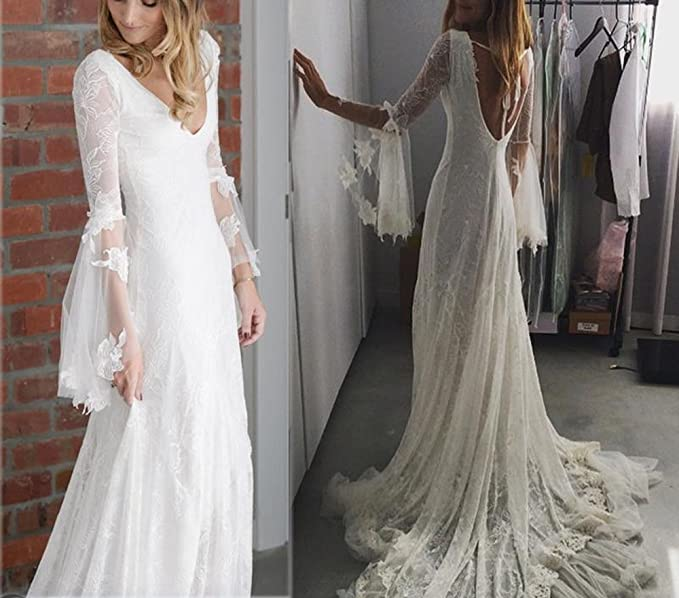 Mr.ace Homme Bohemia Boho Wedding Dress Deep V Neck Country Bridal Gown at Amazon Womens Clothing store:
