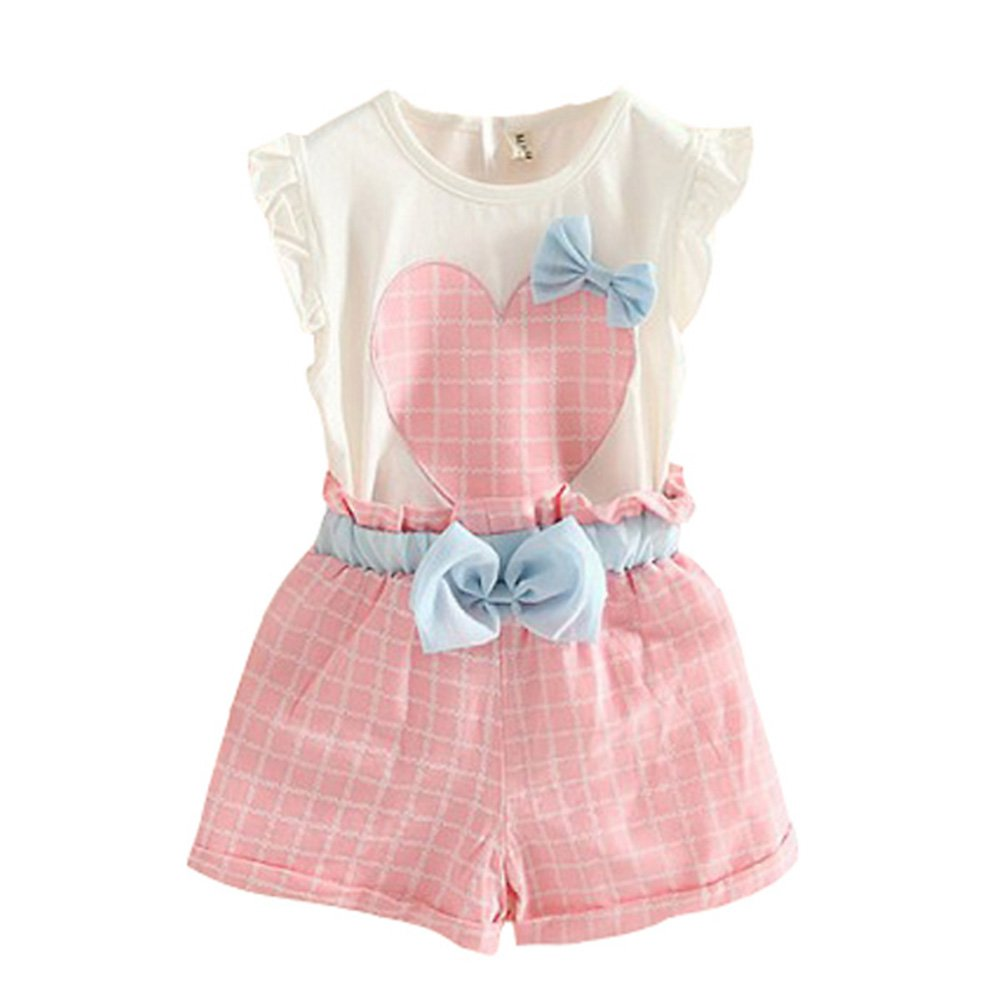 Weixinbuy Girls Clothes Sets Sleeveless T-Shirts Plaid Shorts Vest Summer