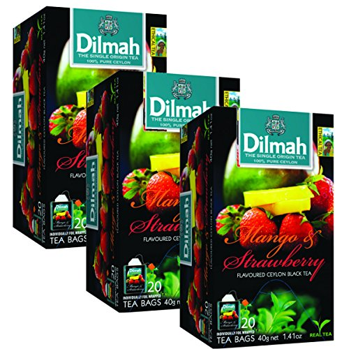 Dilmah Mango and Strawberry Flavored Ceylon Black Tea - 20 Tea Bags X 3 Pack - Sri Lanka Ceylon Dilmah Mango Strawberry Tea Real Tea by Dilmah