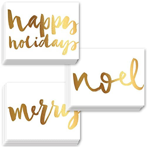 48 Pack Christmas Greeting Cards 3 Beautiful Faux Gold Foil Holiday Designs Envelopes Included Elegant Seasons Greetings Assorted Premium Mixed