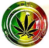 Marijuana Weed RED Gold Green Round Glass Ashtray