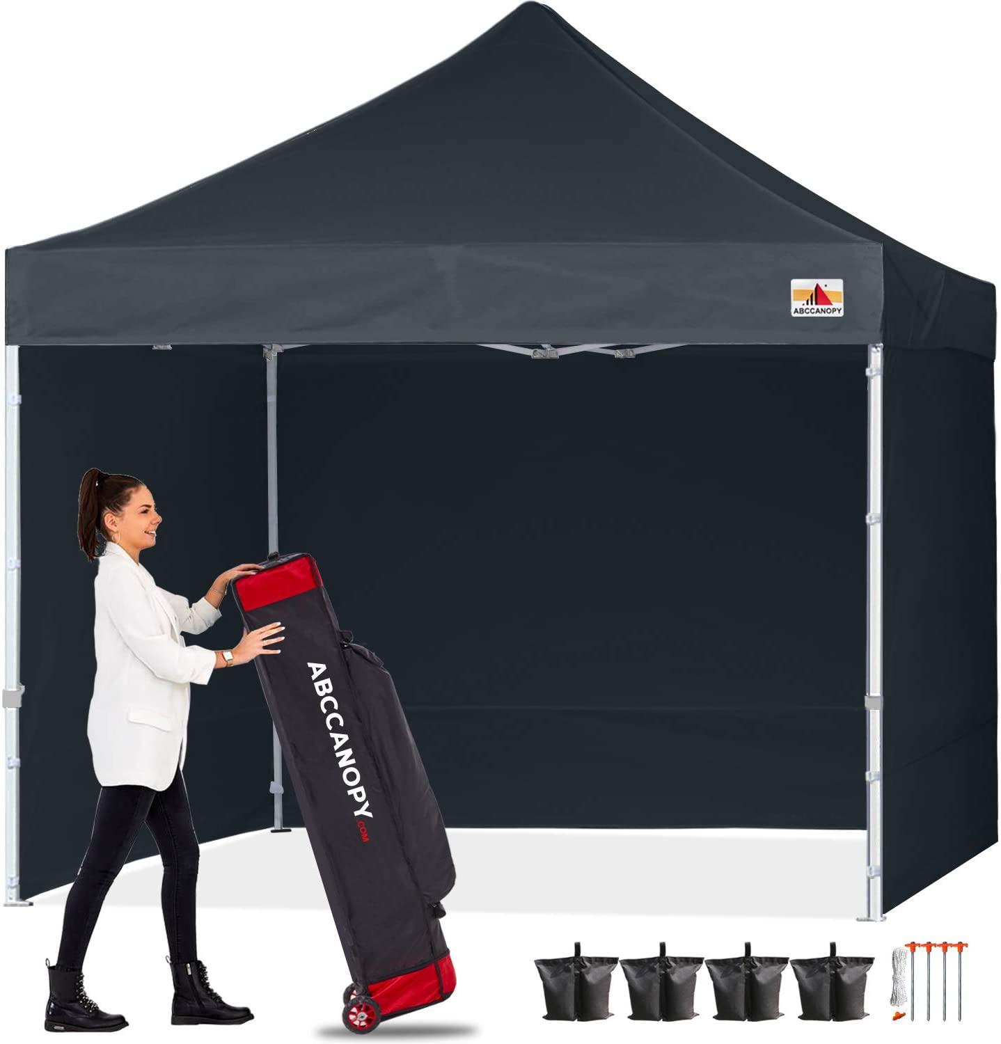 ABCCANOPY Ez Pop Up Canopy Tent with Sidewalls 10x10 Commercial -Series