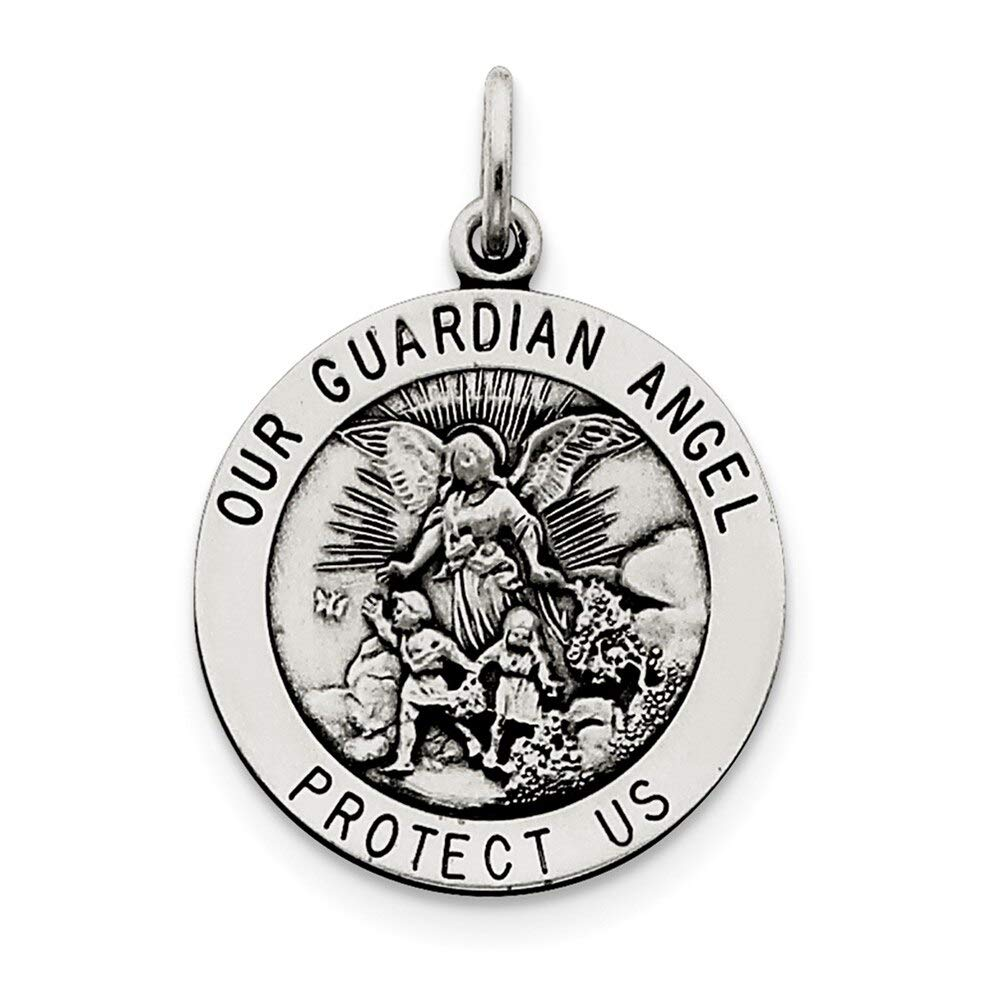 Lex /& Lu Sterling Silver Antiqued Guardian Angel Medal LAL104427-Prime
