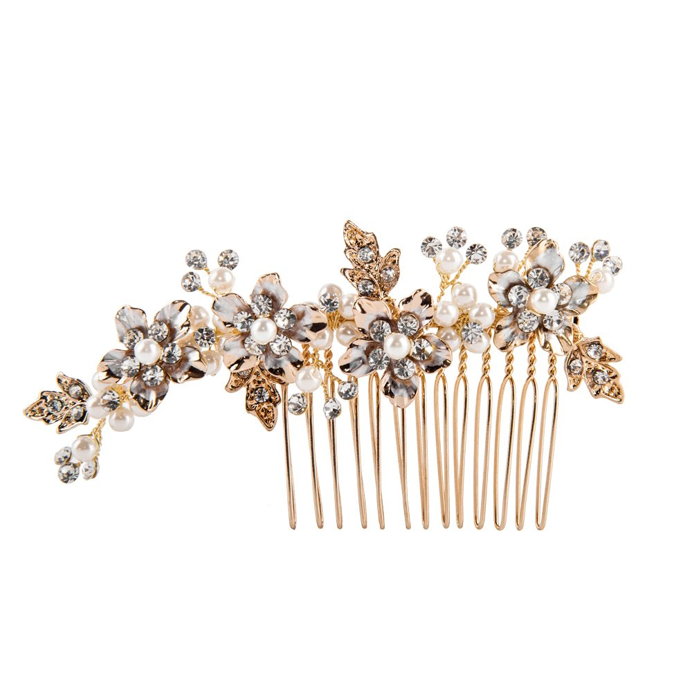 Feyarl Handmade Rhinestone Crystal Hair Side Comb, Decorative Hair Comb Wedding Headpiece (Gold) HC-004