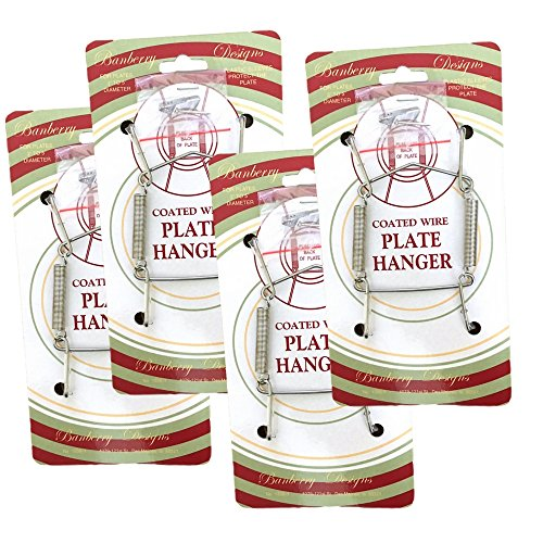 (BANBERRY DESIGNS Chrome Vinyl Coated Plate Hanger 3.5 to 5 Inch Plate Hanger Set of 4 Hangers - Includes Hanging Hook and Nail )