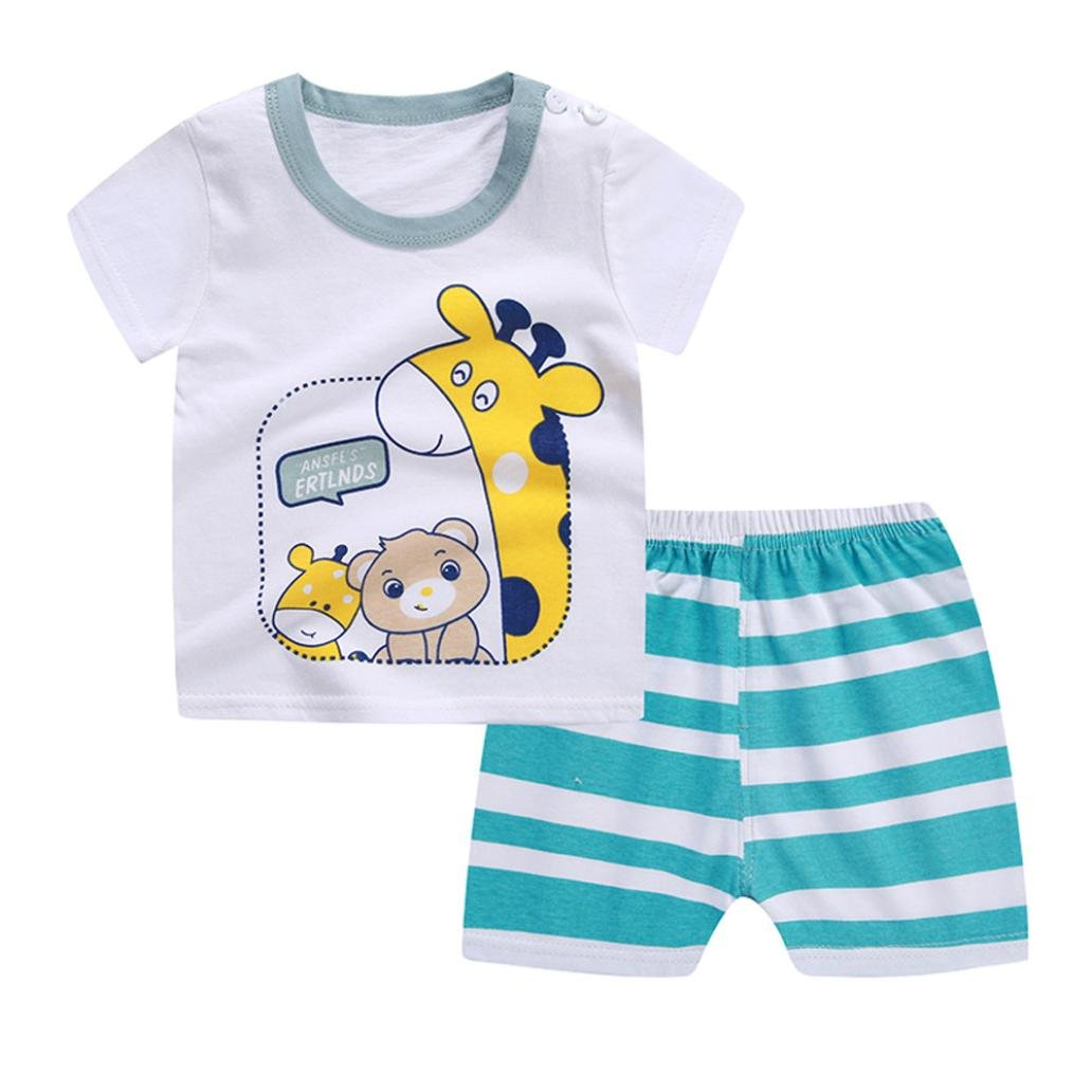 Webla Toddler Baby Boys Girls Cartoon Giraffe T-Shirt+Striped Short Pants Home Pajama Clothes Set for 1-3 Years
