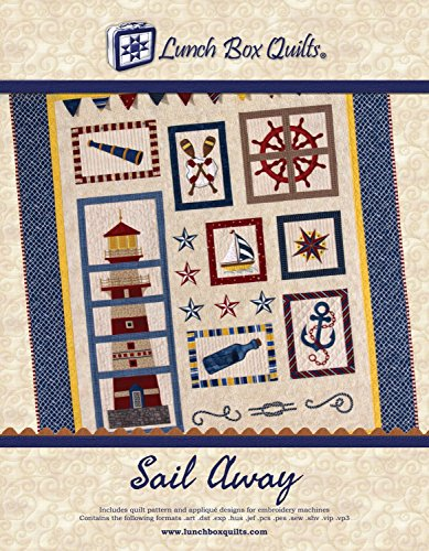 Lunch Box Quilts Sail Away Applique Embroidery Quilt Pattern with Redemption Code & Backup CD for Use with Embroidery Sewing (Machine Embroidery Design Applique)