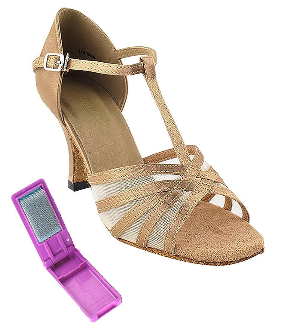 [Very Fine Dance Shoes] レディース B01N24MMJ4 Brown Satin-flesh Mesh 8 B(M) US