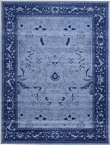 Unique Loom La Jolla Collection Tone-on-Tone Traditional Blue Area Rug (9' 0 x 12' -